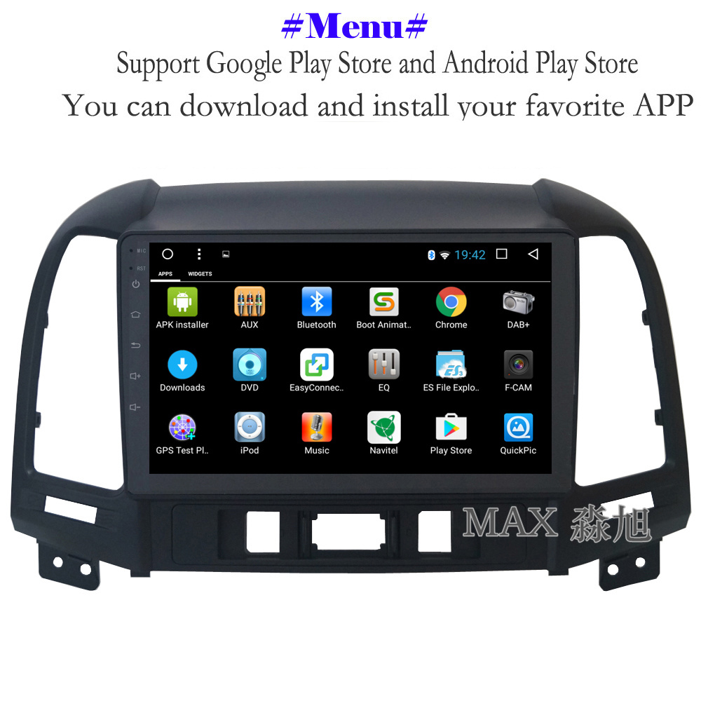 Perfect MAX Android 8.1 2G 32G 8 Core Car DVD Player for Hyundai santa fe 3/4holes with 2.5D+IPS Screen car stereo radio RDS Maps swc 2
