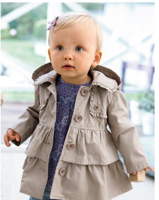 Envío gratis 2015 del otoño del bebé chaquetas muchacha de moda abrigo larga chaqueta de vestido de los cabritos capa wholsale y al por menor
