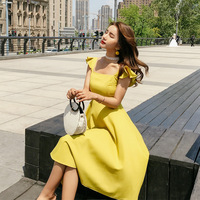 2018 New Style women's Summer Chic Long Dress Sexy Sleeveless butterfly sleeve Camisole sling Ruffle Fishtail Elegant Party Wear
