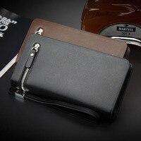 Luxury Men Wallet 2017 Business Wallets Leather Bag Handbags Double Zipper Men Clutch Bags Brand Hand