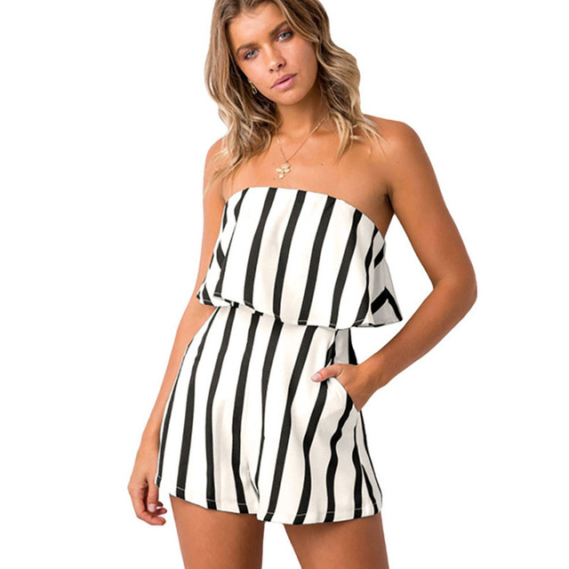 86c2b916dab 2018 Women Summer Playsuits Black and White Striped Rompers Chest Wrapped  Strapless Short Overalls Female Causal Party Jumpsuits