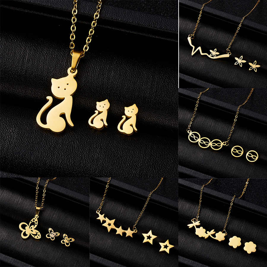 Jewelry Sets Gift for Women Cute Cat Butterfly Heart Infinity 8 Flower Pendant Necklace Earrings Set Stainless Steel Animal Sets