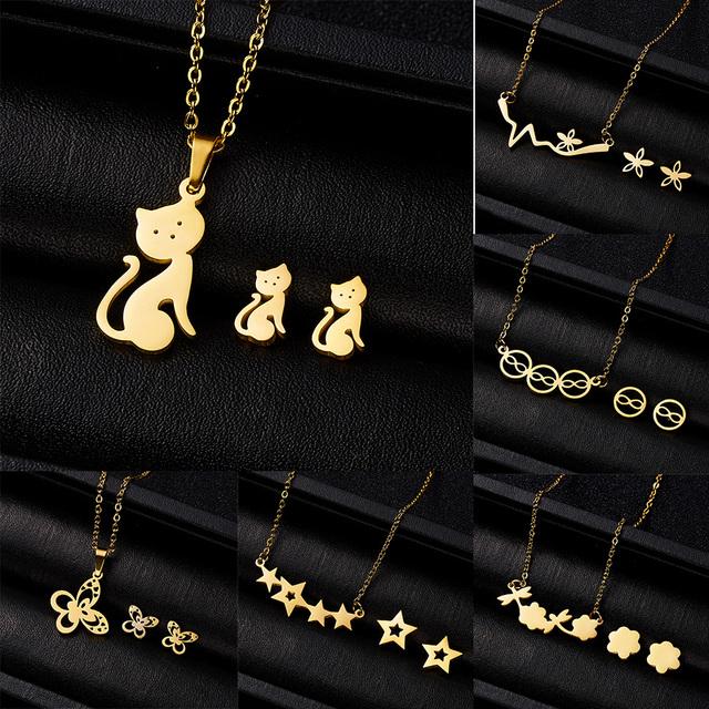 Conjuntos de joyas regalo para mujeres lindo gato mariposa corazón infinito 8 flores colgante collar pendientes conjunto de acero inoxidable Animal conjuntos