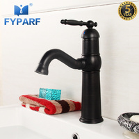 FYPARF Rustic Bathroom Faucets Deck Mount Bathroom Vanity Sink Black Mixer Tap Single Handle Washbasin Mixer Cold Hot Water Tap