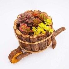 Caioffer Natural Creative Round Cask Shape Resin Wooden Flower Pots Micro Landscape Ornaments Planter Pot For Garden Home CJ003