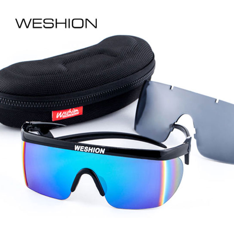 6ea6e4bc531 WESHION Sunglasses Men Clip On Sport Sun glasses Plus Size Coating Mirror  Rainbow Lens Outdoor Oculos De Sol Feminino 2018 Cases