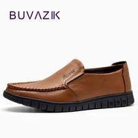 New 2016 Loafers Black Male Sewing Footwear For Man Cow Split Genuine Leather Shoes Men Flat