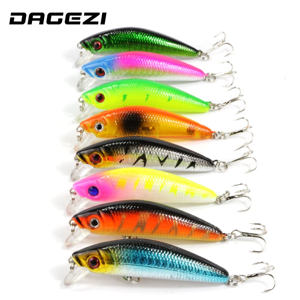 DAGEZI 8pcs/lot Minnow Fishing lure 8 Colors 5.8cm 7g Hard fishing Bait iscas artificiais para pesca with hook for carp fishing