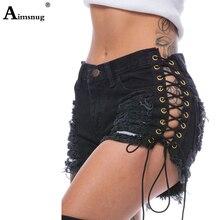 Plus size 2xl Gothic Casual Shorts Denim Shorts Bandage Black Hole Sexy Hot Fashion Summer Slim Ripped Jeans Short Pants Lacing