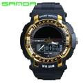 2017 nueva moda masculina deporte sanda relojes hombres marca de lujo de relojes militares 3atm 30 m buceo led digital analógico de cuarzo relojes