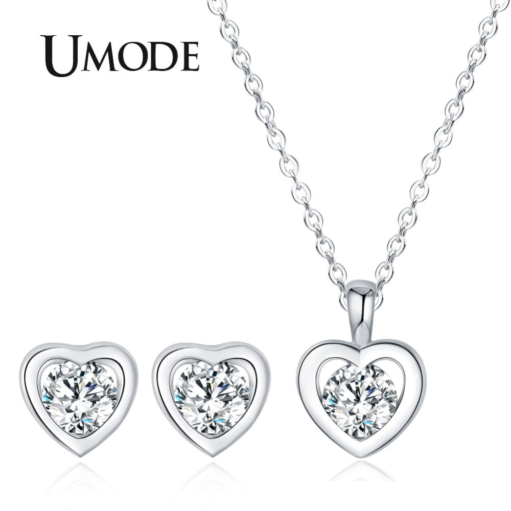 UMODE Small Cute AAA+ Heart CZ Studs Earrings CZ Long Chain Necklaces Pendants Jewelry Sets US0058