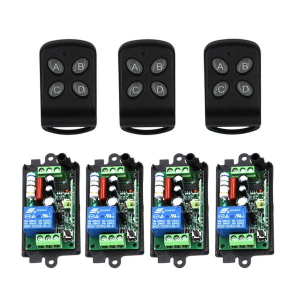 AC 220V 10A 1CH Channel RF Wireless Remote Control Switch & Remote Control System 4*receiver+3*transmitter 315/433MHZ SKU: 5393 ac 220v 1channel 10a rf wireless remote control switch system 4 receiver