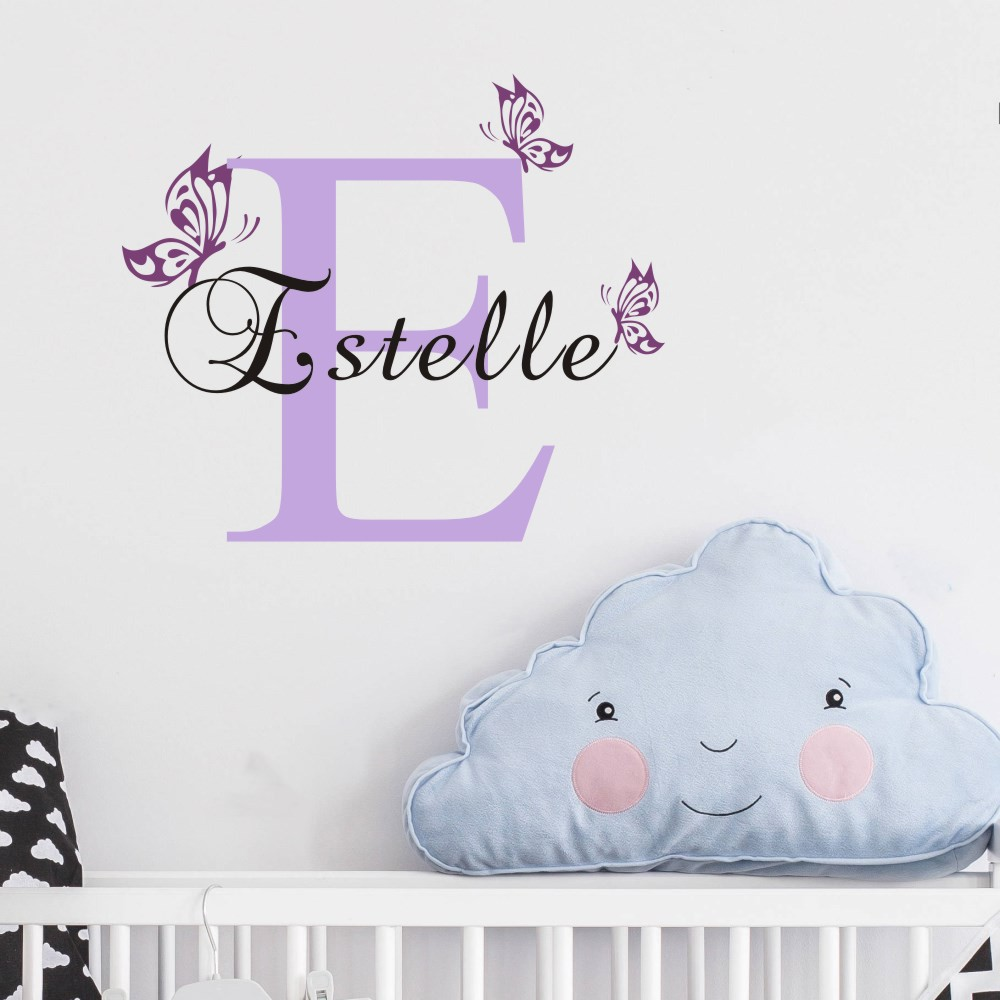 Personalized butterfly name vinyl wall art decal home for Personalized home decor