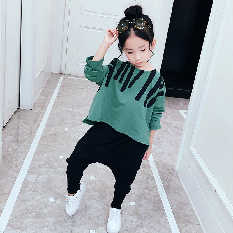 2018 New Baby Girls Spring Autumn Children's Clothing Set Long Sleeve Pullover Top+Harem Pant 2 Piece Sets Casual Sport Suits new girls sets 2018 spring autumn baby