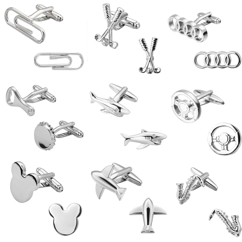 DY New high quality brass plated silver plane golf Sax shark Audi logo clip Cufflinks men French shirt Cufflinks