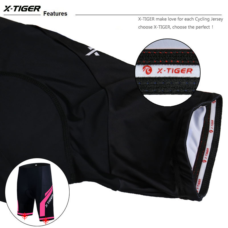 X-Tiger Women Cycling Shorts 3D Silica Gel Padded Shockproof MTB Mountain Racing Bike Shorts Bicycle Underwear Underpants