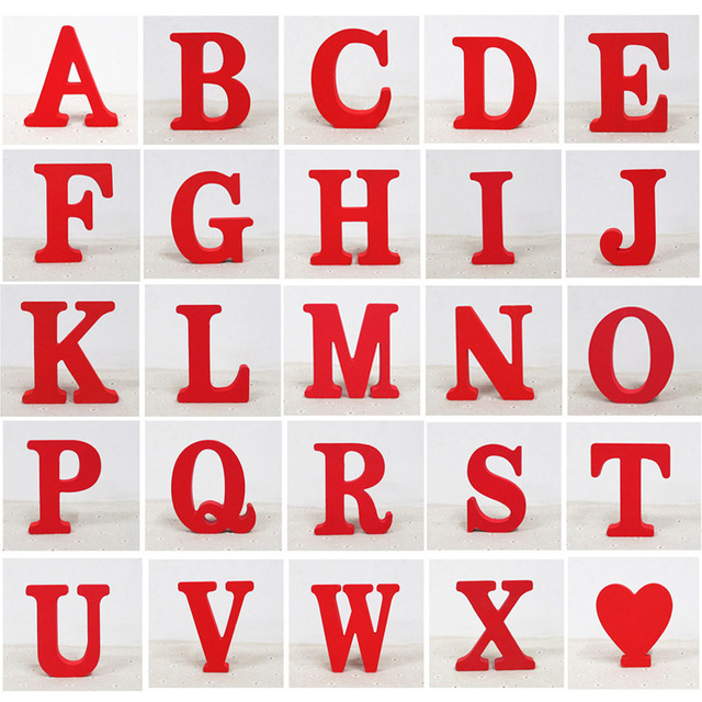 1 pcs home decor houten brief 26 hout engels alfabet letters aantal