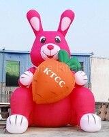 16FT Riesen Ostern Aufblasbare Bunny Kaninchen Karotte Indoor Outdoor Yard Rasen Frühling Dekoration