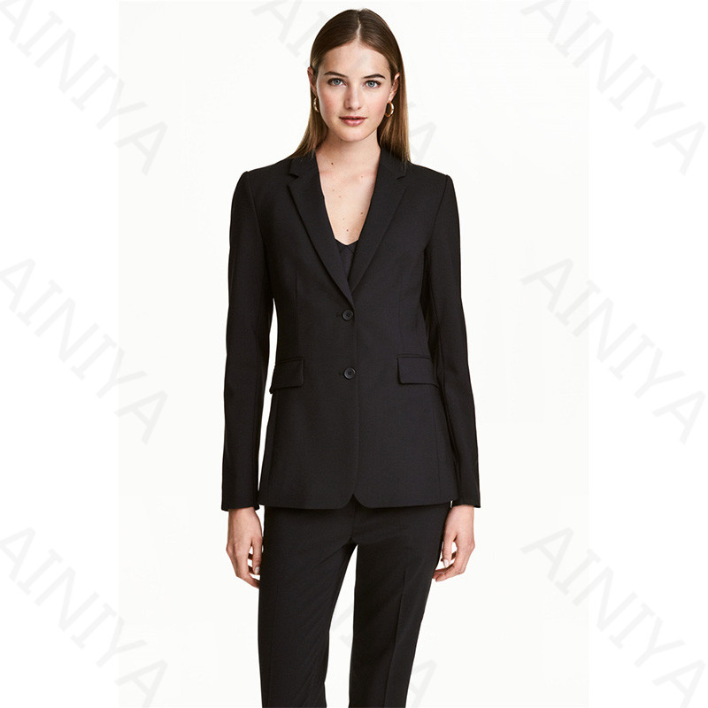 Blacj Womens Business Suits Blazers Female Office Uniform Two Button Ladies Trousers Formal Work Trouser Suits Custom Made
