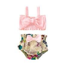 Детские купальники для девочек, хлопковый купальник из двух предметов, купальный костюм, бикини, пляжная летняя одежда, жилет с принтом, комплект одежды, L0604