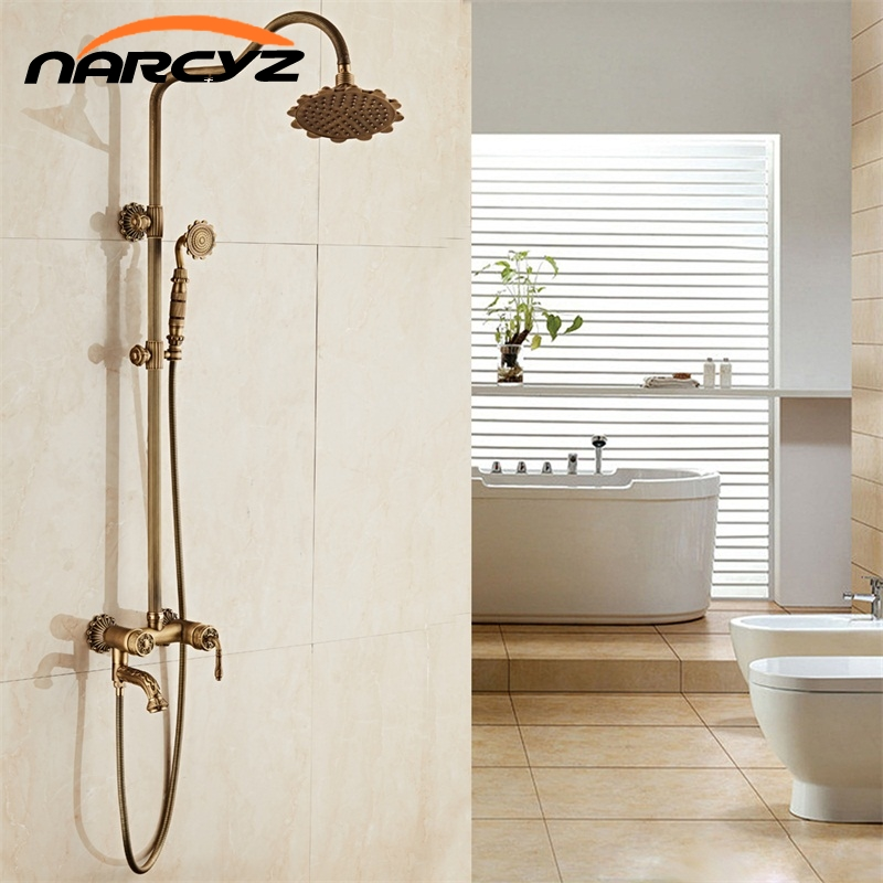 New Arrival luxury Retro Carved Bathroom Wall Mounted Carving Hand Held Antique Brass Shower Head Kit Shower Faucet Set XT341 цена