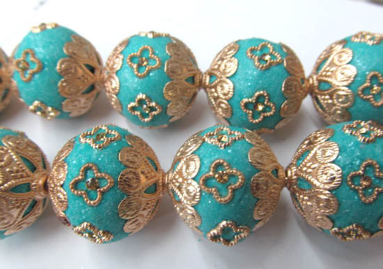 Beads Jewelry & Accessories kashmiri Polymer Brass Round Ball Turquoise Blue Mixed Jewelry Beads Handmade 20mm Full Starnd Polymer Clay & Crystal