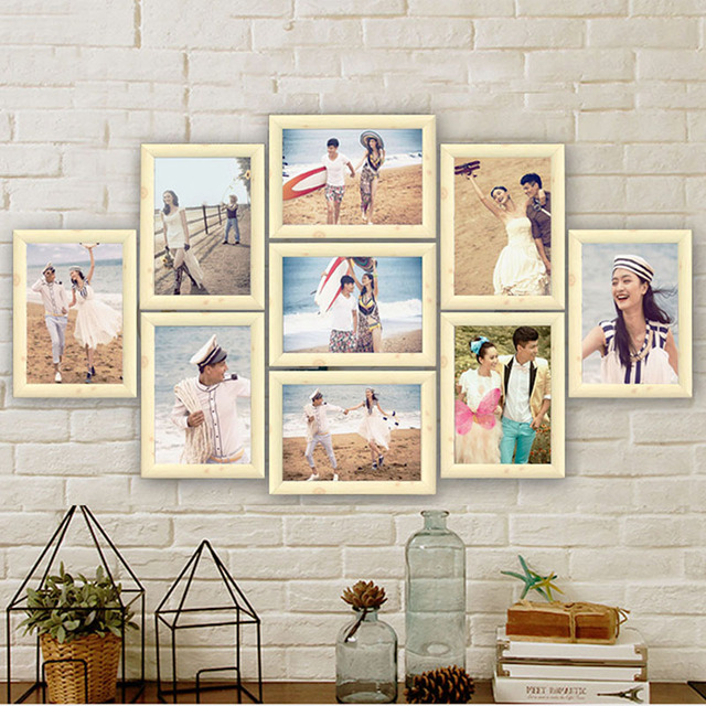 9 pcs lot cadre photo ensemble cadre photo famille collage cadres photo tenture photo image. Black Bedroom Furniture Sets. Home Design Ideas