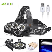ZPAA LED Headlight 5 LED 15000Lumen USB Rechargeable LED Head Lamp Flashlight 3 XML T6 + 2 Q5 18650 Headlamp Blue Fishing Lights