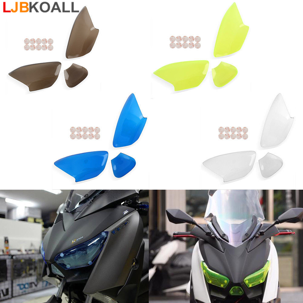 US $24 27 10% OFF|LJBKOALL Motorcycle Acrylic Plastic Front Headlight Lens  Cover Protector Guard for 2017 2018 Yamaha Xmax 300 X max 250-in Covers &