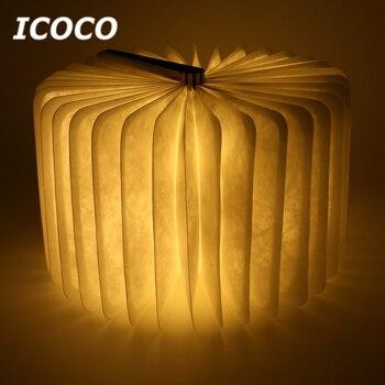 휴대용 usb 충전식 led 마그네틱 접이식 나무 책 램프 밤 빛 책상 램프 홈 장식 드롭 선박에 대 한 뜨거운 판매