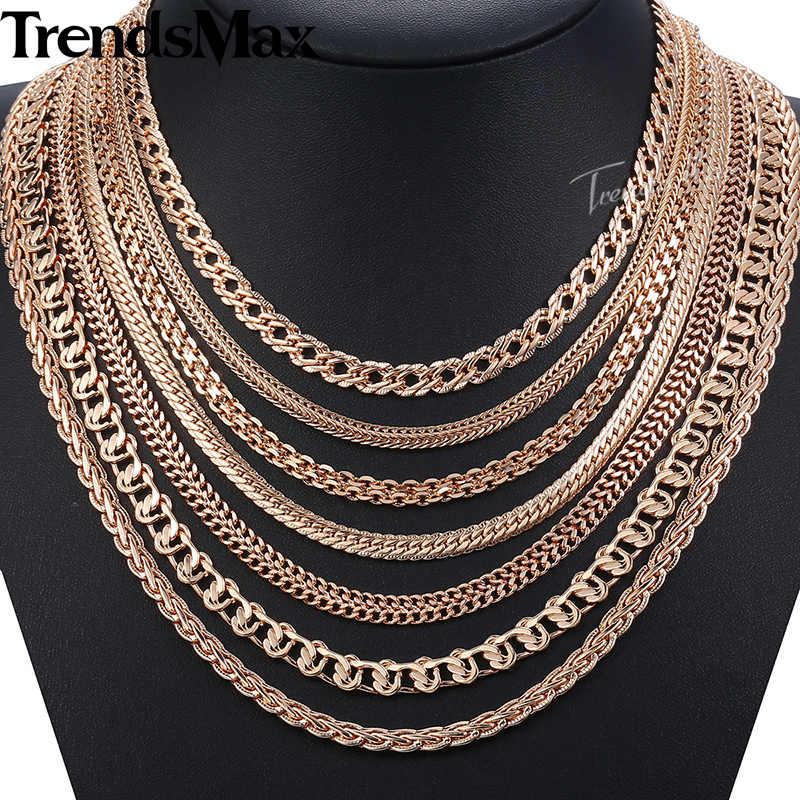 Женское мужское ожерелье s 7 шт/партия 585 розовое золото тротуарное Плетение цепи ожерелье для женщин мужчин Модная бижутерия оптом 50 см CNN1A