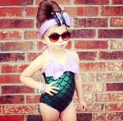 017 Character Dream Merman Kids Girl One-piece Suits Big Scales Swimwear Bikini Set Swimsuit Bathing suit Summer Surprise 2PCS 2