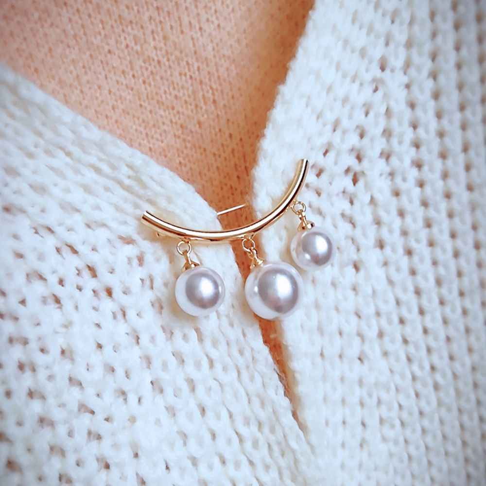 New Fixed Straps Anti Slip Pin Korean Simple Pearl Brooch Women's accessories Cardigan Anti Wearing Pins Enamel Pin