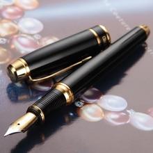 Подарочная модная перьевая ручка с металлическим начесом, роскошный черный цвет, деловая офисная Студенческая ручка с чернилами Iraurita, тонкая ручка 0,5 мм