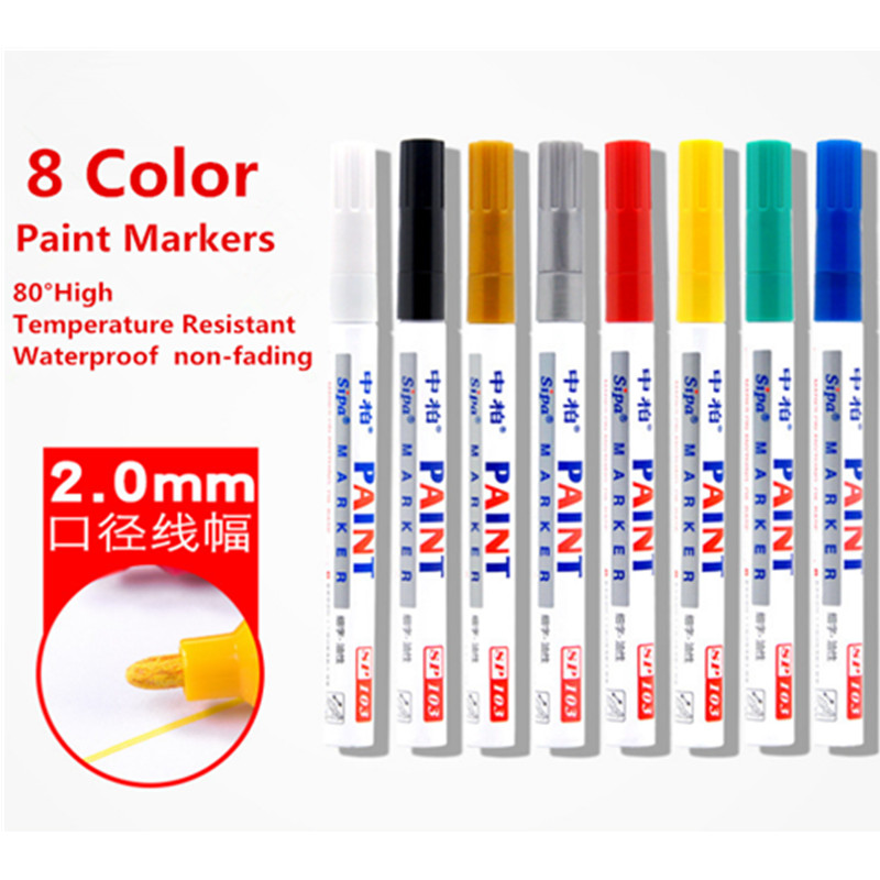8 Color Oil Based Permanent Waterproof Marker Pens For Paint Ceramic, Car Tire, Metal, Package Design, Gift Decoration, Glass