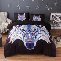 Dreamworld Tribal Elephant Bedding Set and Bed Linen Queen King Sizes Wolf Bedding Sets and 3pcs Indian Symbol Duvet Cover Sets
