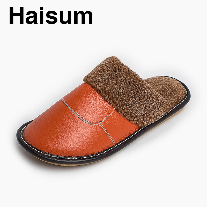 Ladies Slippers Winter genuine Leather Thick With Plush Home Indoor Non-slip Thermal Slippers 2018 New Hot Sale Haisum Tb001 men s slippers winter pu leather home indoor non slip thermal slippers 2018 new hot haisum h 8007