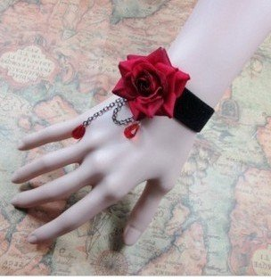 gothic jewelry rose charm bracelets vintage bangle red black flowers fashion girl women party accessories 2013 new jewellry