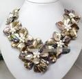 "ENVÍO LIBRE >>>@@> 18 ""encanto 7 de la flor real perla hecha a mano de estilo color de la mezcla collar de concha madre perla AAA Fine Noble real N"