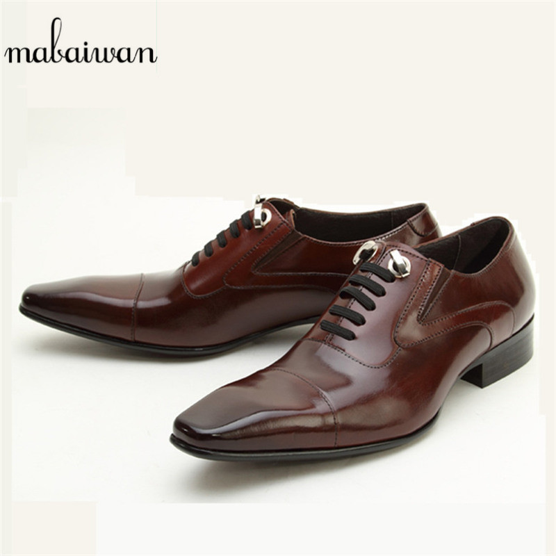Mabaiwan Fashion Men Genuine Leather Wedding Dress Shoes Men Lace Up Slippers Italy Retro Business Formal Footwear Black Flats mabaiwan black genuine leather men shoes dress wedding male brogue shoes men lace up oxfords prom slipper business formal flats