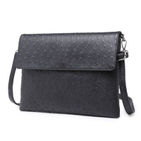 2016 Fashion Ostrich Bag Leather Messenger Satchel Shoulder Bag Black Men Clutch Business Briefcase Men Handbag