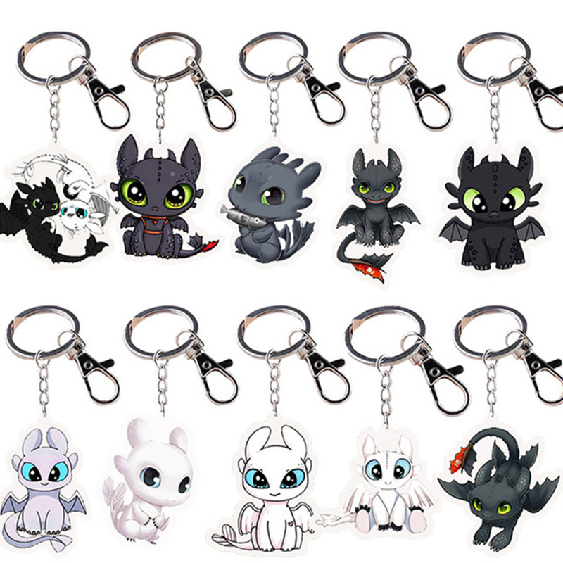 Anime How To Train Your Dragon Figure Keychain Toys Acrylic Night Fury Toothless Dragon 3 Keychain Children Toy Gifts