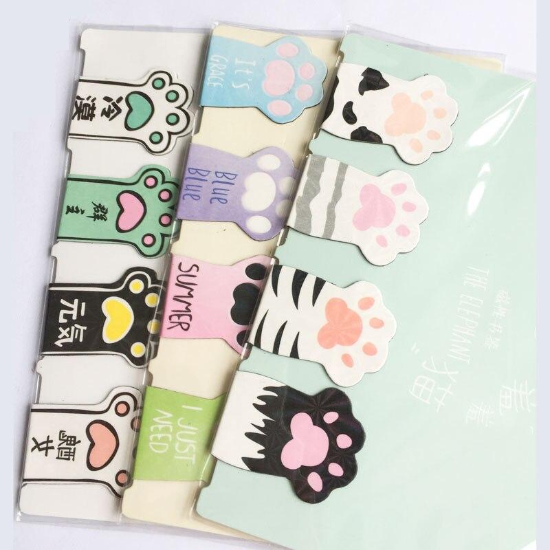 D36 4 шт./компл. милый кот Paw магнитные закладки для книг маркер страницы канцелярские принадлежности для школьных канцелярских товаров Бумага зажим