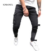 7318af535f0c2 Wysokiej elastycznej tkaniny Denim Mężczyzn Hip hop Swag Wielu kieszeń  Cargo Biegaczy Skinny Biker Jeans Motocykl Udzielenie Str..