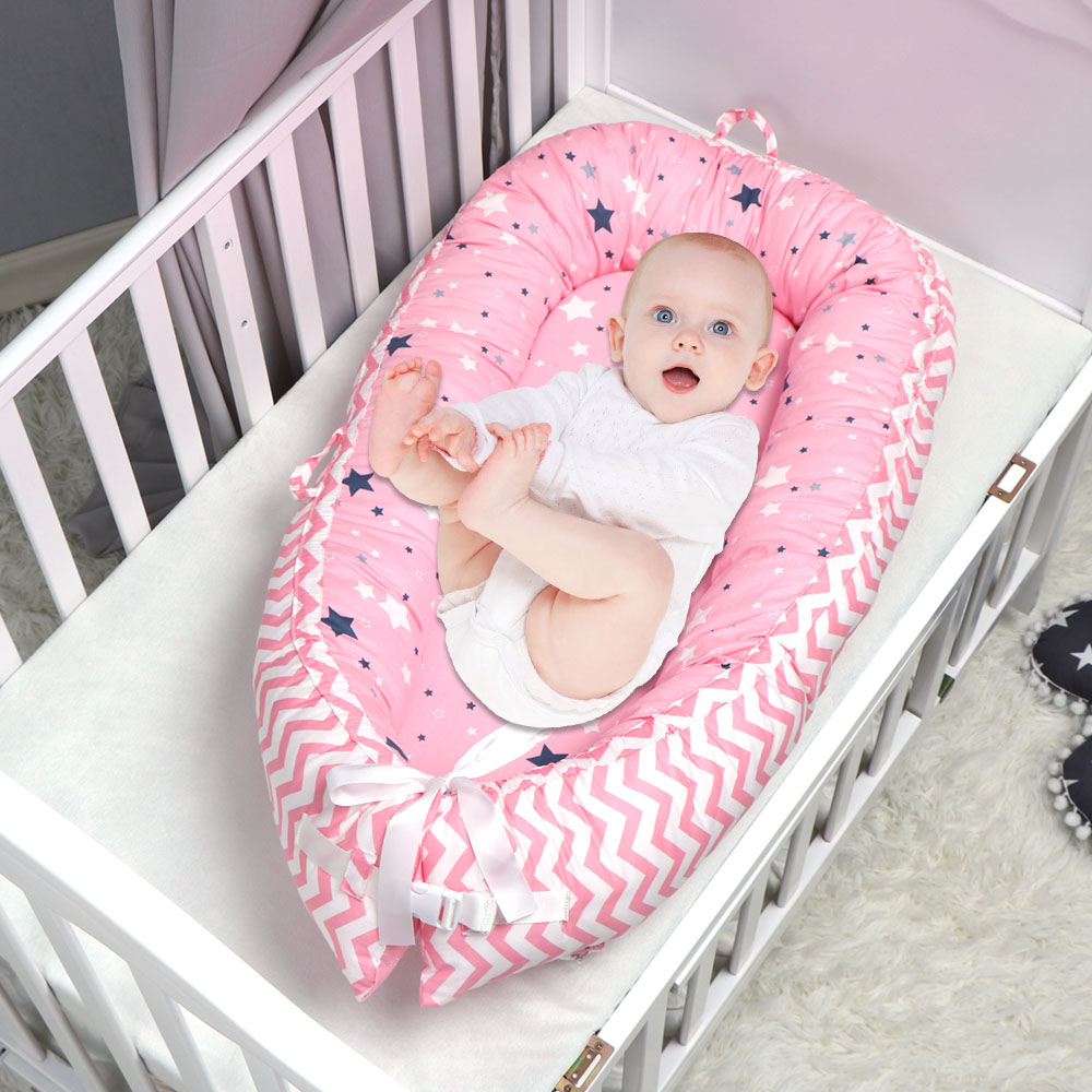 Star Pattern Baby Nest Bed Portable Crib Travel Bed Infant Toddler Cotton Cradle For Newborn Baby Bassinet Bumper