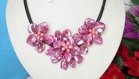 Rzemieślnicze bloom muszla brzoskwini różowe perły choker naszyjnik skórzany j8164 fabryka hurtownie cena kobiety prezent biżuteria słowo