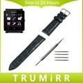 24mm correa de piel genuina para el sony smartwatch 2 sw2 smart watch banda de Pulsera de La Correa con Herramientas y Barra de Resorte Negro Marrón Rojo