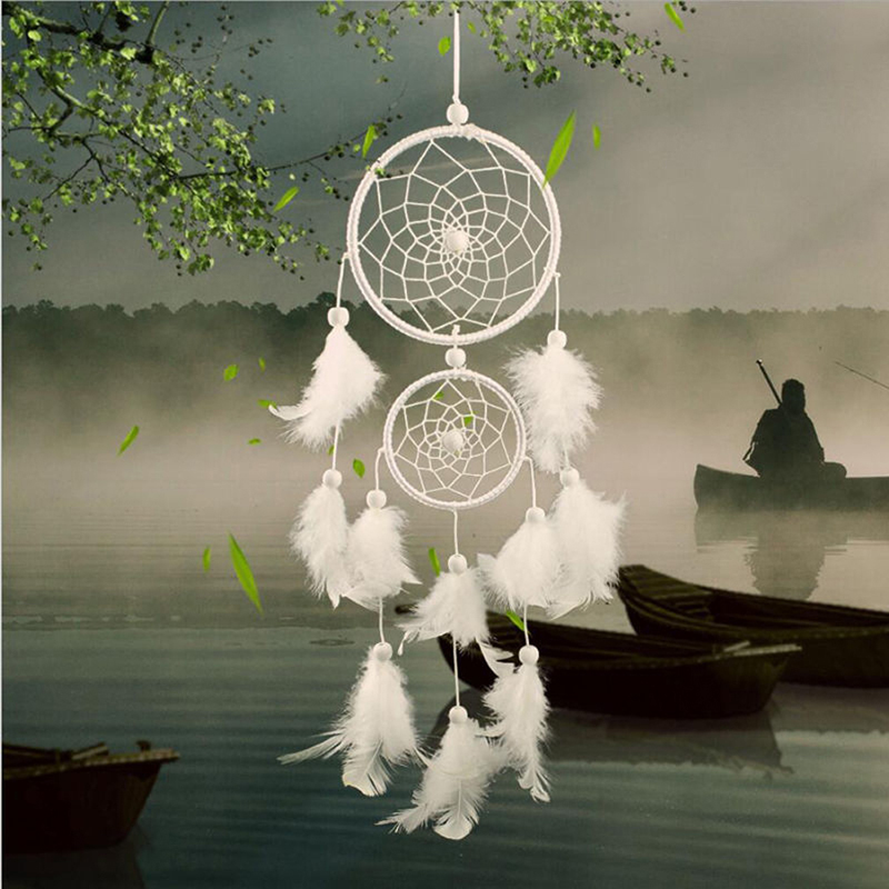 Vintage Handmade Indian Dream Catcher Net With Feathers Wall Car Hanging Decoration Ornament White Mini Dreamcatcher Room Decor