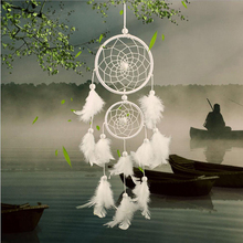 Vintage Handmade Indian Dream Catcher Net with Feathers Wall Car Hanging Decoration Ornament White Mini Dreamcatcher