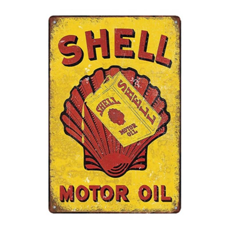 SHELL GASOLINE GOLDEN SHELL MOTOR OIL  porcelain coated 18 GAUGE steel signs